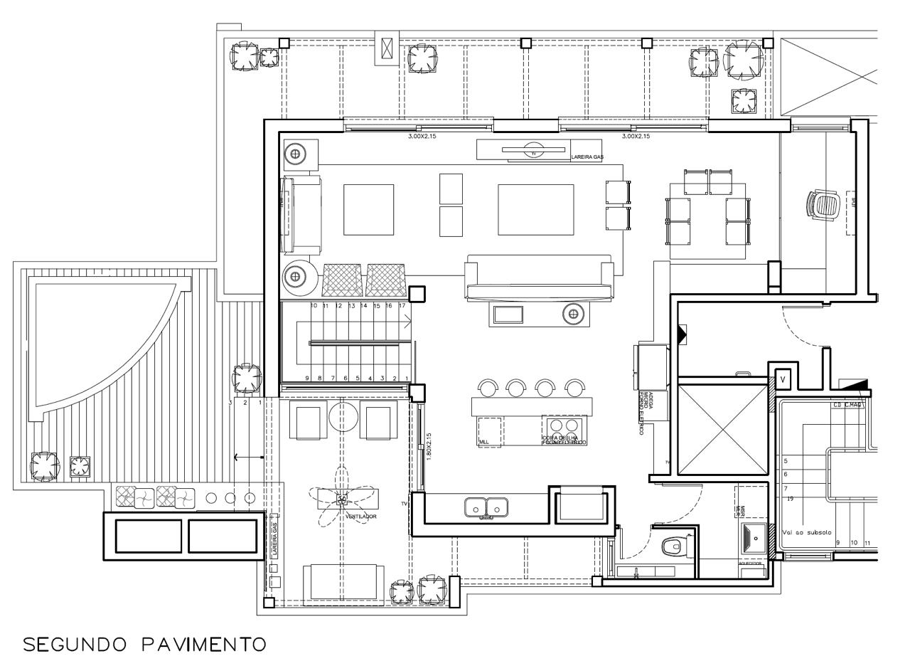 Planta Baixa primeiro pav. apto duplex 300 metros
